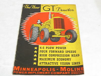 * Vtg Minneapolis Moline The New Gt Tractor Agriculture Brochure *