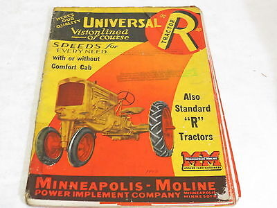 * Vtg Minneapolis Moline Visionlined R Tractor Agriculture Brochure *