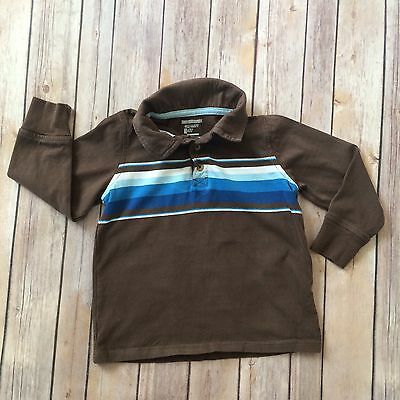OLD NAVY Boys Size 4T Brown Long Sleeved Striped Polo Shirt