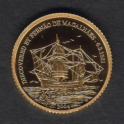 Mariana Islands. 2004 Gold 5 Dollars..  Magellan..  1.224gms  .9999 gold.. Proof