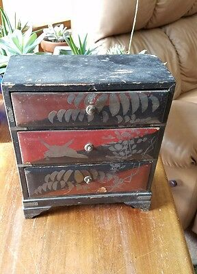 Antique Hand Painted Wood Asian Chinese 3 Drawer Storage Jewelry Box Black Red
