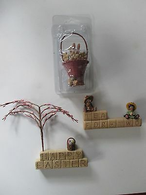 3 Blossom Bucket Miniatures Happy Easter & Tea For Two Blocks Easter Rabbit