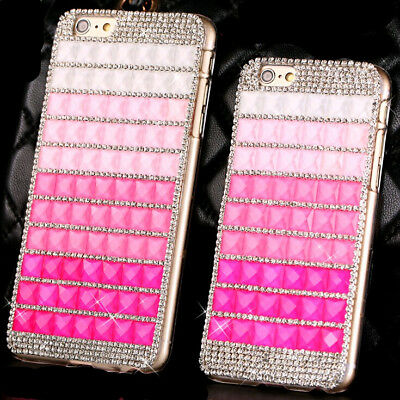 """New Pink Stone Crystal Back case Cover Skin For Apple iphone 6 6S plus 5.5"""" X264"""