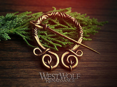 Bronze Penannular Brooch with Twists and Curls -- Viking/Celtic/Fibula/Cloak Pin