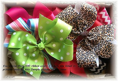 12 pcs 5 1/2 Inch Custom Boutique hair bow Lot  You Choose Colors and Clips