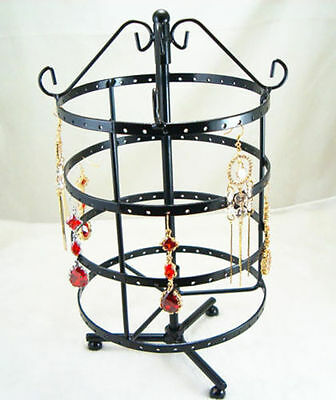Black Metal Necklace Earrings Holder Jewelry Organizer Display Rack Stand New