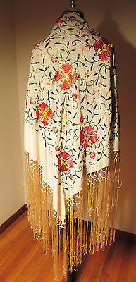 Antique Embroidered White Silk Floral Piano Shawl w/Hand Knotted Fringes c1890