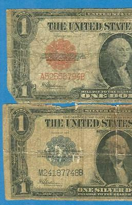 $1.00 1923 Legal Tender  Red Seal + $1.00 1923 Silver Certificate Imperfect Pair