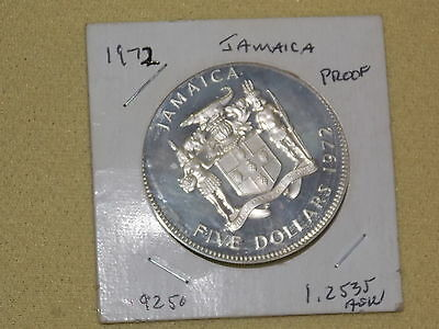 1972 Jamaica Five ($5) Dollar Sterling Silver Commemorative Proof Coin Ounce+