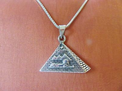 Antique Egyptian Sterling Silver Pendant Necklace Chain of Pyramids & Sphinx