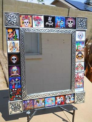 MIRROR punched tin Day of the Dead Tile collectable Mexican folk art pottery 17""