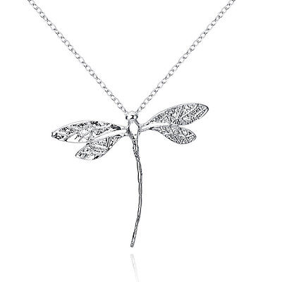 925 Sterling Solid Silver Long dragonfly Pendant Jewelry #W053