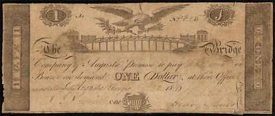 1816 $1 Dollar Bill Bridge Bank Company Of Augusta Note Currency Old Paper Money