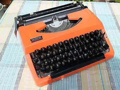 Vintage  Brother 210 Portable Metal Body Typewriter Orange
