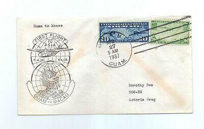 Guam USA  to Macao China  1937 Trans pacific cover first flight