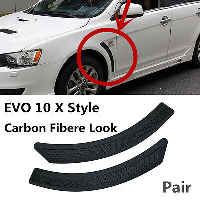Pair Carbon Fiber Look Front Fender Side Vent Cover For 08-15 Mitsubishi Lancer
