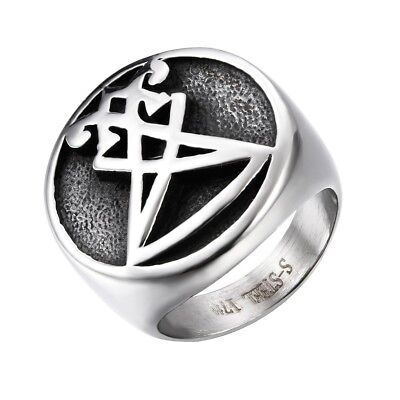 Mens Boys Sigil of Lucifer Stainless Steel Seal of Satan Stainless Steel Ring