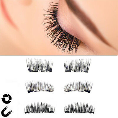 4PCS 3D Magnetic False Eyelashes No Glue Handmade Natural Extension Eye Lashes