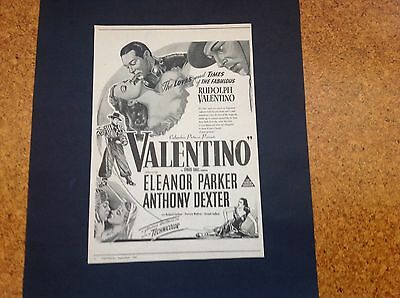 1951 Vintage Orig Aust Ad: Columbia Pictures Presents - Valentino