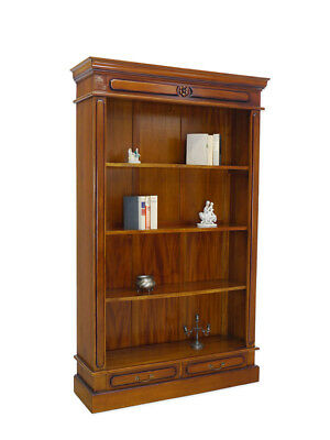 Regal Bücherregal Medienregal mit 2 Schubladen Massivholz antiker Stil (6162)