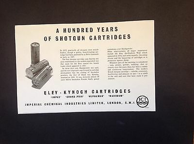 1952 Vintage Original Ad: Eley-Kynoch Shotgun Cartridges