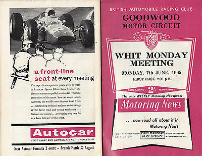 GOODWOOD WHIT MONDAY MEETING, MONDAY 7th,JUNE,1965, PROGRAMME.