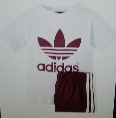 Adidas infants unisex tee and short set white plum ao0058 trefoil new tagged