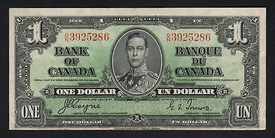 CANADA P-58e. (1937) 1 Dollar..  Coyne/Towers..  George VI Portrait..  gVF-EF