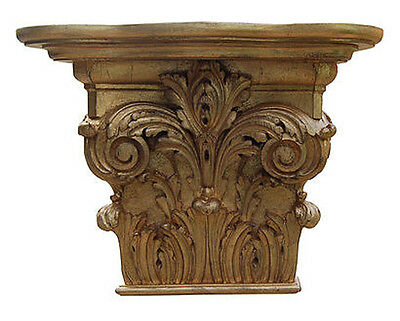 Elaborate Acanthus Leaf Bracket Wall Shelf Made in USA in 40 Colors