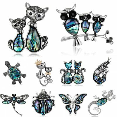 Animal Owl Butterfly Dragonfly Double Cat Crystal Brooch Pin Christmas Jewellery