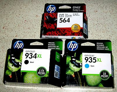 3 HP Genuine Inks: 564-PH + 934XL-BK + 935XL-C for Officejet PRO 6230/6830