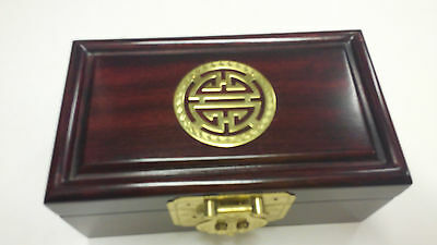Medium Size Antique Rosewood Huali Jewllery Box with Brass Double Happy inlay
