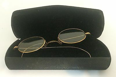 Vintage Oval Gold Wire Rim Eyeglasses with Case W. H. Crook Lancaster, Ohio