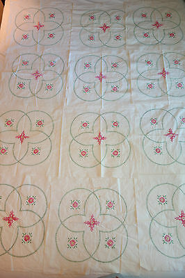 "Lot of 12 Vintage Hand Embroidered Quilt Topper Top Blocks 34"" x 17"""