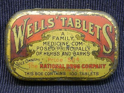 National Drug Advertising Tin Pill Box WELLS' Tablets Herb's & Bark's Medicine