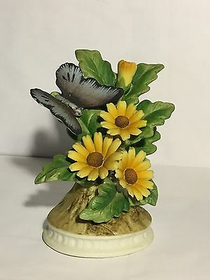 Vintage Lefton Hand Painted Figurine, Butterfly & Flowers, KW7213, Japan