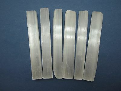 """Lot of 6 Rough 4"""" in. SELENITE WANDS Morocco 193g"""
