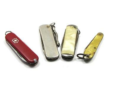Original Condition: 4 Vintage Miniature Utility Knives USA & Swiss