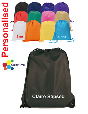 Personalised Premium Drawstring Bag PE Gym Kit School P.E Kids Sport Rucksack PE