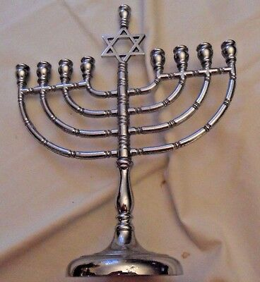 old Traditional white / chrome  brass Chanukah menorah, by R.C.Y, Jewish Star