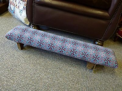 Vintage wooden chapel foot stool Welsh Wool woollen tapestry Blanket top