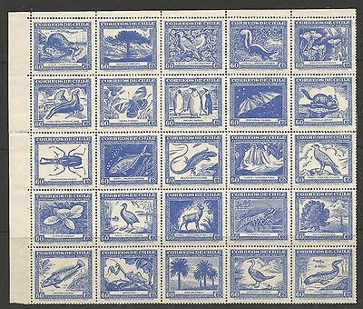 """CHILE 1948  """"CHILEAN FLORA AND FAUNA"""" SHEET OF 25, S.G 381a-381y, MNH**/MH*"""