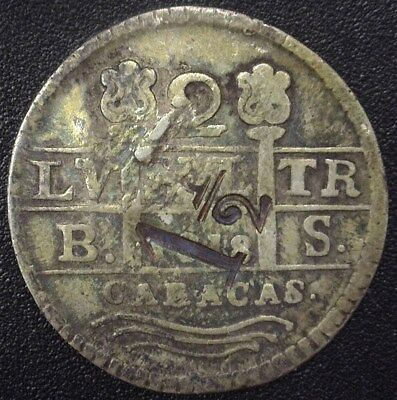 "Venezuela 1818(1830) Silver 2 Reales C#36 With Rare Unknown ""1-1/2"" Counterstamp"