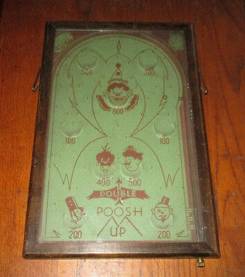 Vintage Northwestern Double Poosh Up Tabletop Pinball Game - Clowns