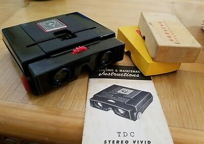 1950s Vintage TDC Stereo Slide Vivid Deluxe Viewer ,Instructions, 2 boxes slides