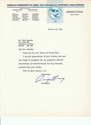 Union President George Meany Original Signed Letter 1979 Afl-Cio