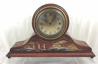 Excellent Antique Mantel Clock With Attractive Chinoiserie  Style Decoration