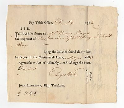 1780 War Payment Order for Service in the Continental Army