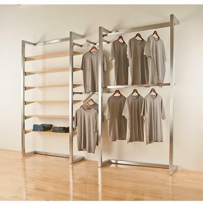 Alta Collection Wall Unit Satin Chrome Retail Display Hanger Fixture MERCHANDISE