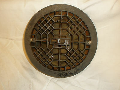 Vintage Round Cast Iron Floor Register Heat Grate/Vent - With Louvers